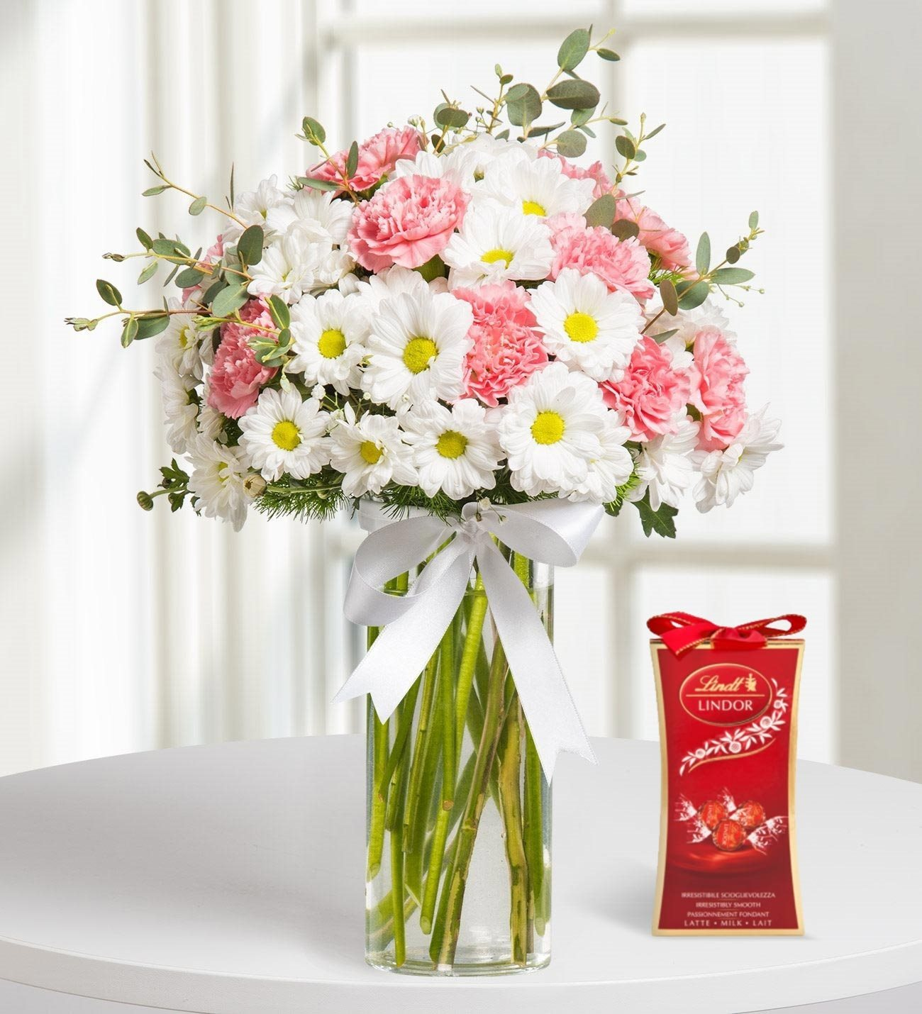White Daisy And Pink Carnation With Chocolate