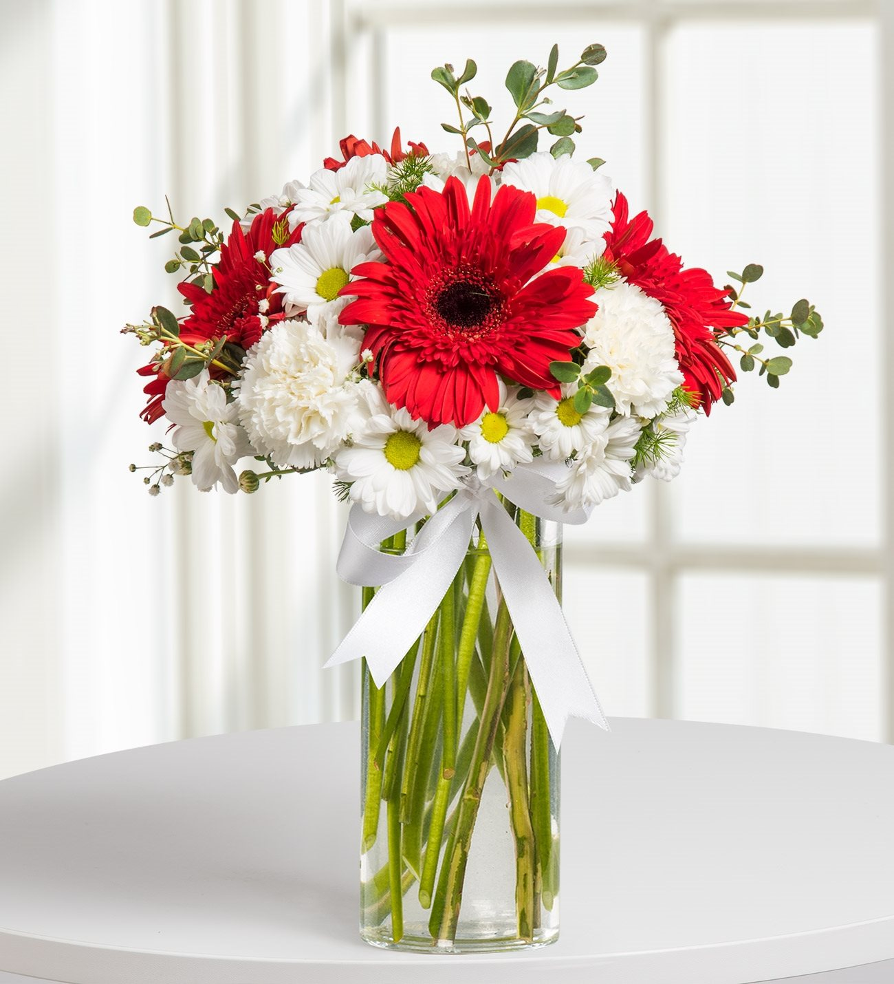 Nobility red white flower arrangement kc143591 gerberas carnations and daisies noble blossoms mightylinksfo Gallery