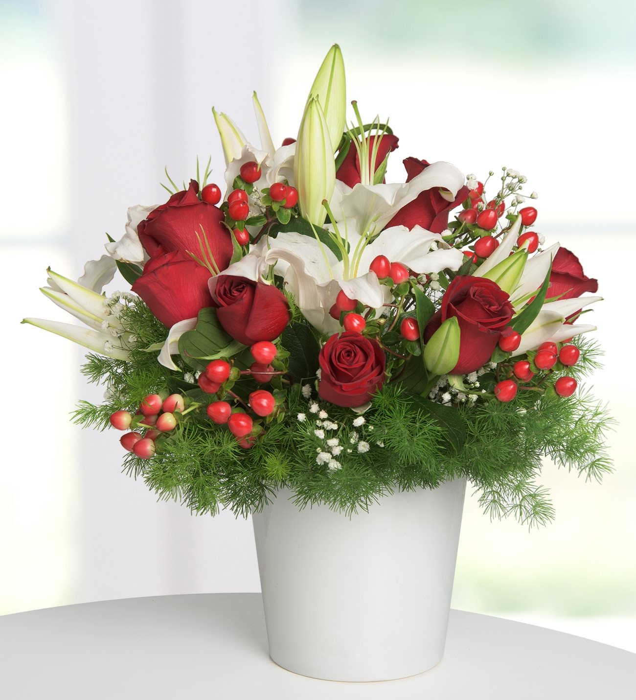 Lolaflora international flower delivery service white lilies and 9 red roses cup of love izmirmasajfo