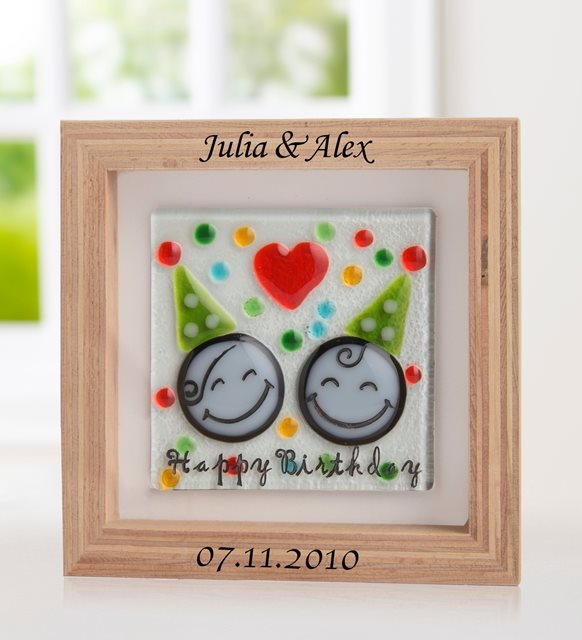 Personalized Wooden Frame with Happy Birthday Message