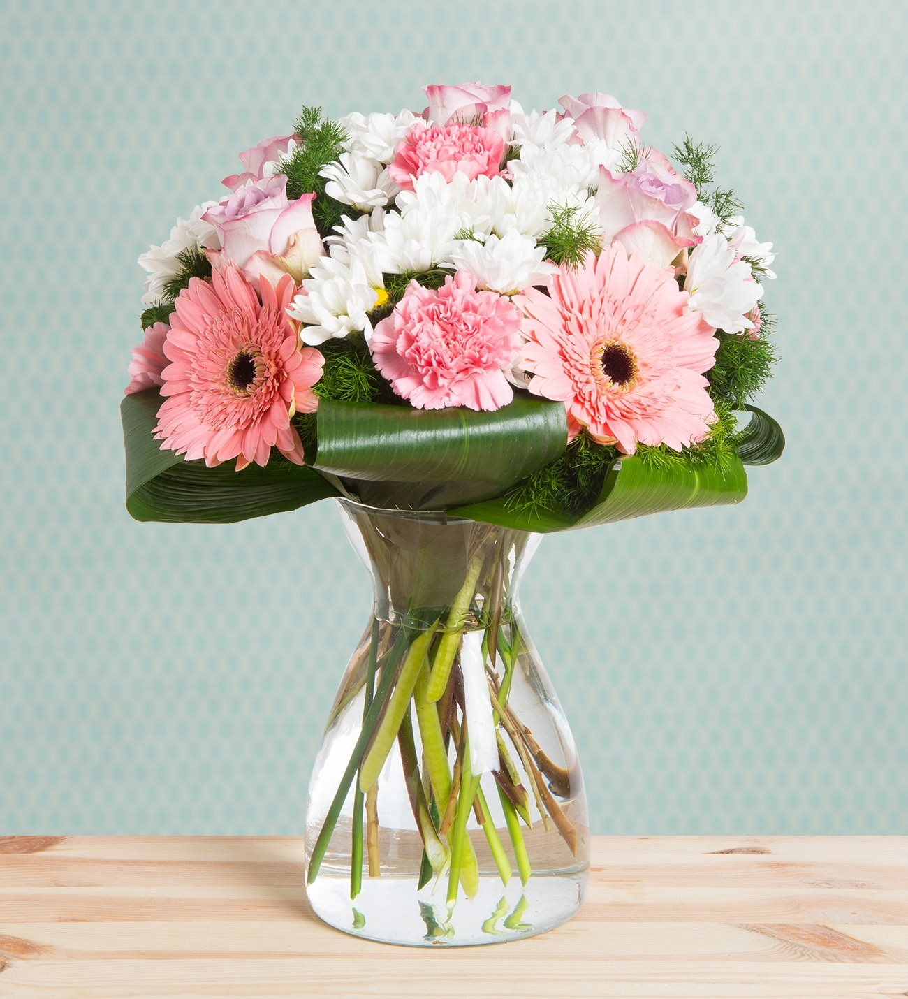 Carnations Gerberas And Roses Cotton Candy