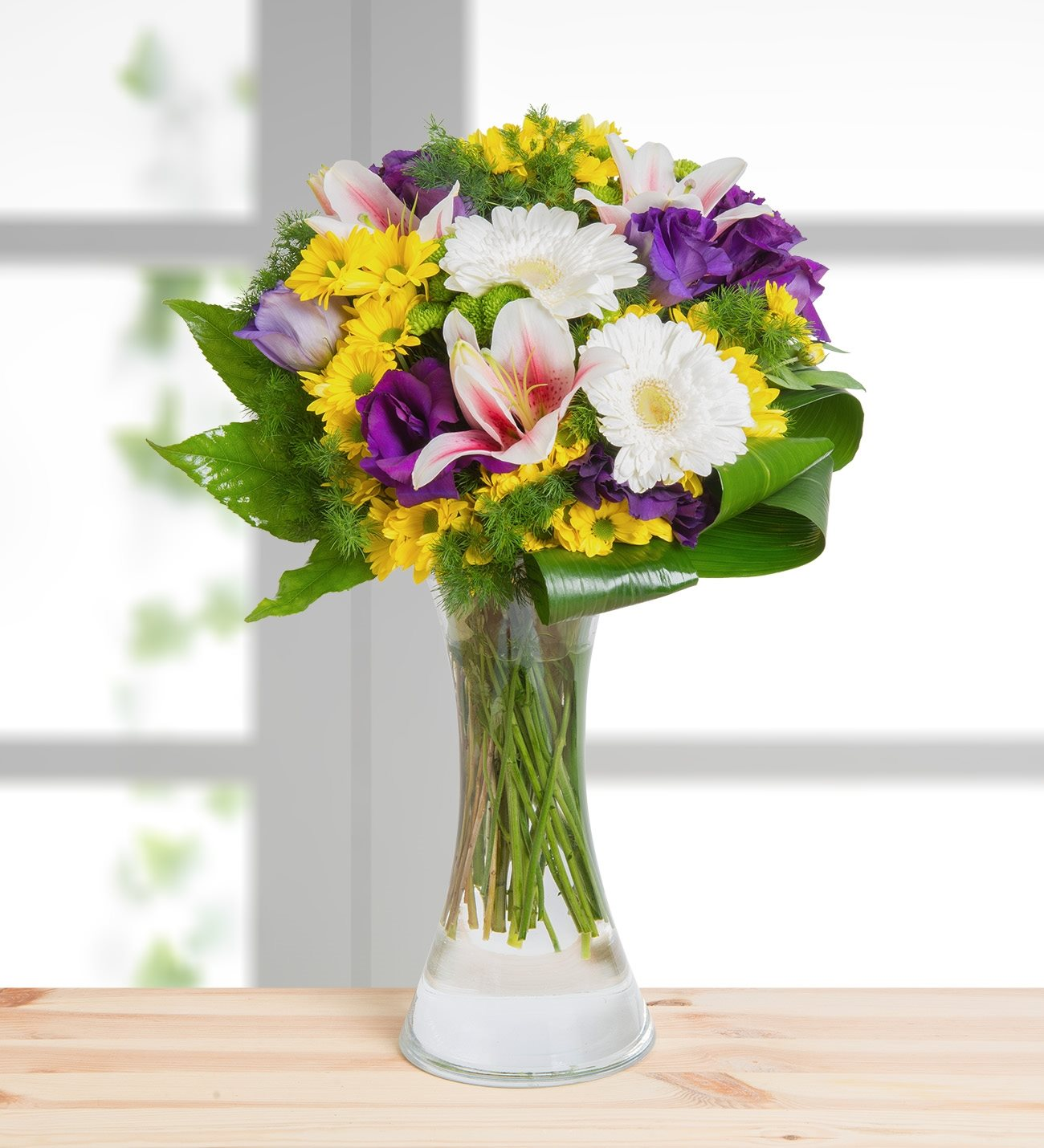 Lilies gerberas lisianthus and daisies symphony of colors izmirmasajfo