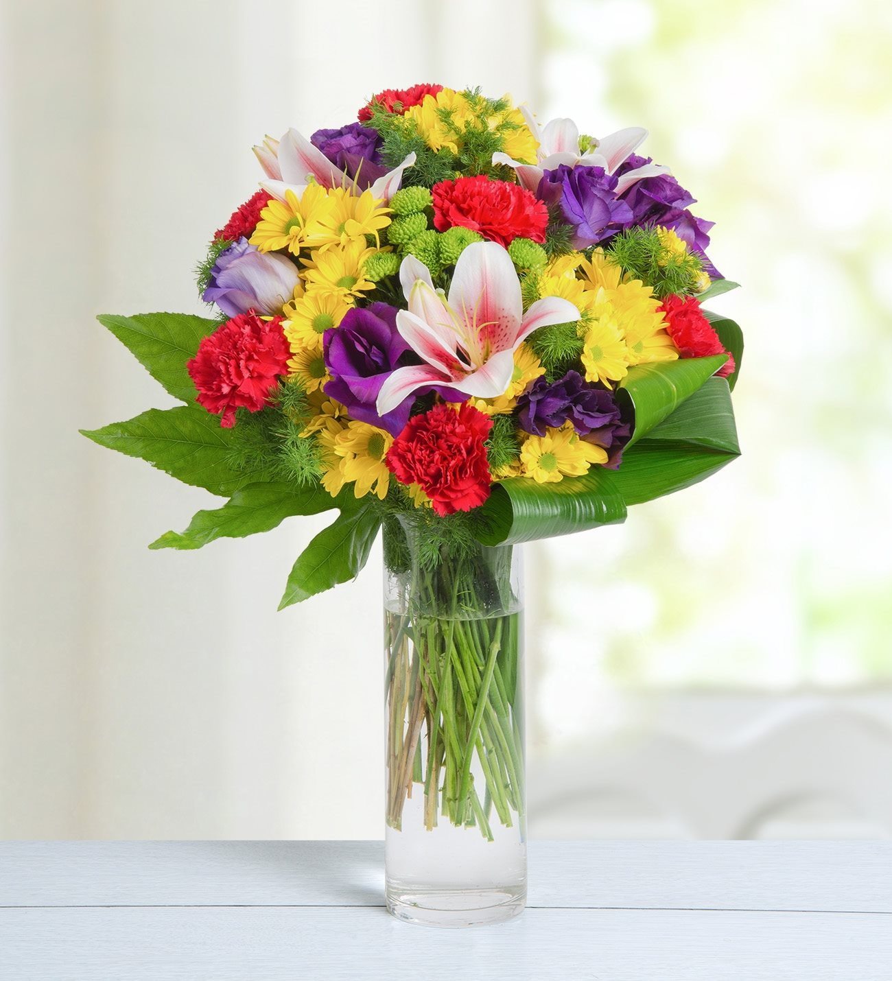 Carnations lilies lisianthus and daisies summer breeze izmirmasajfo