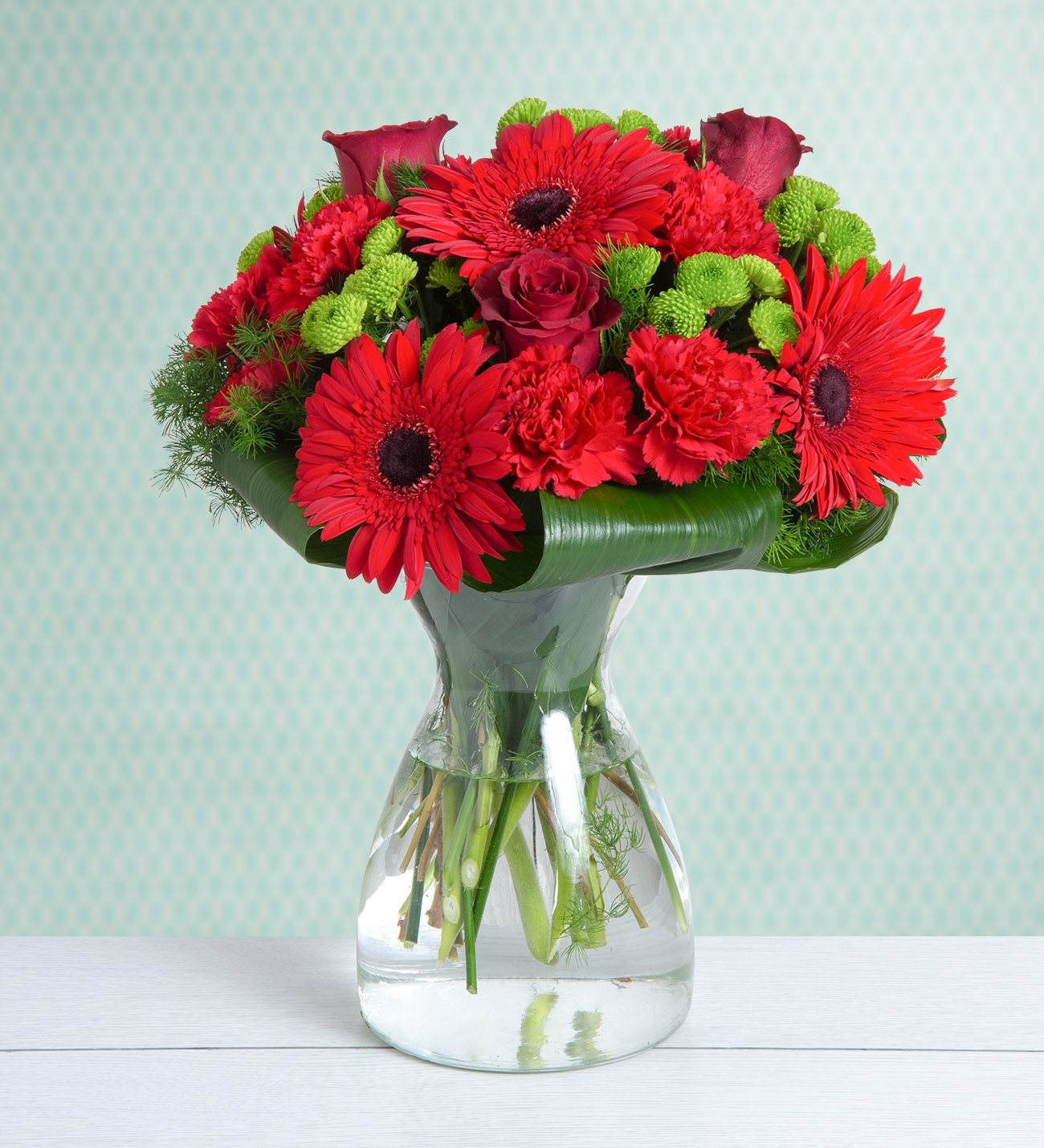 Carnations, Gerberas and Roses - Red & Cute