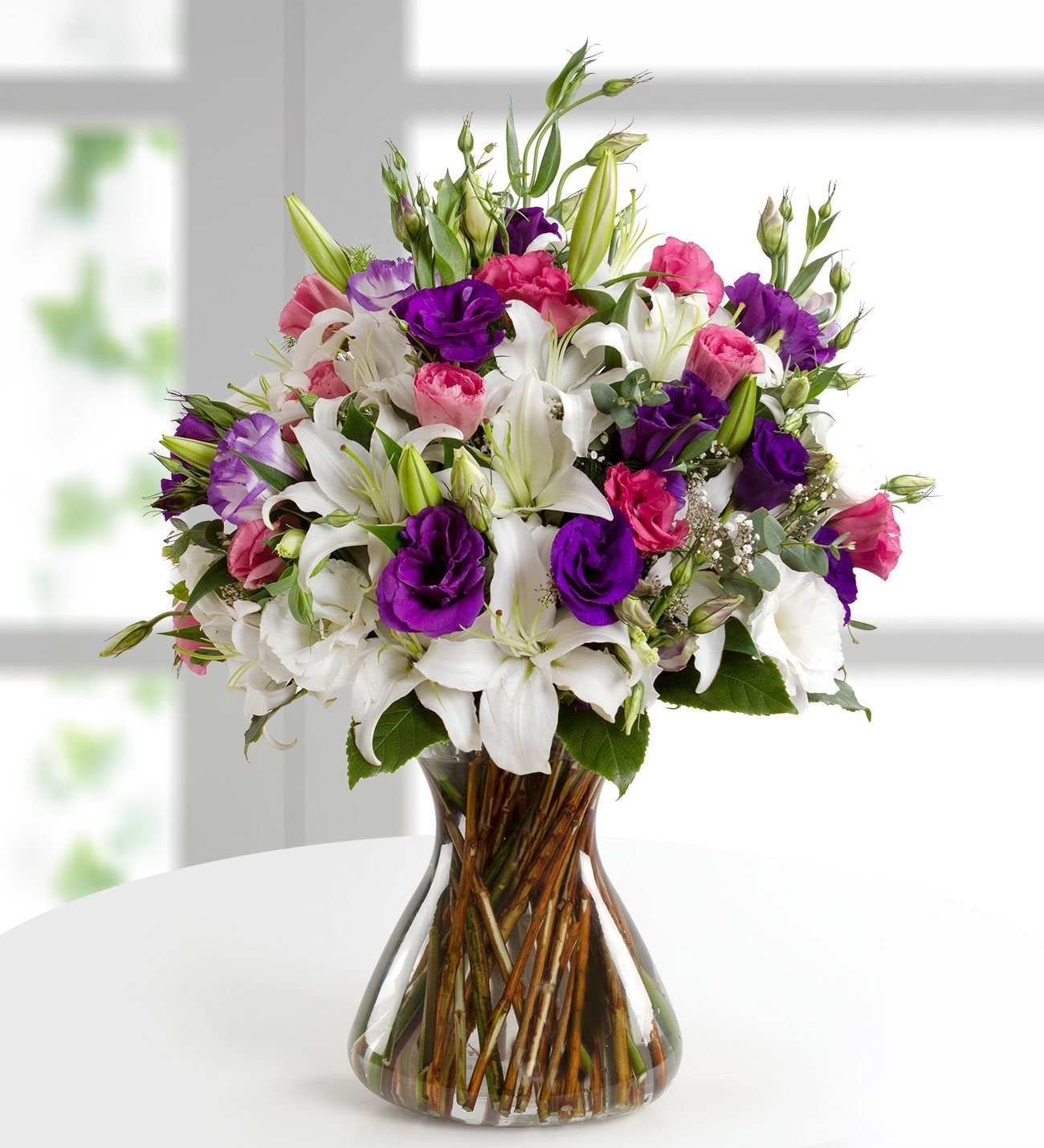 Pink and purple lilies and lisianthus izmirmasajfo