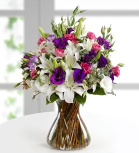 Pink and purple lilies and lisianthus mightylinksfo