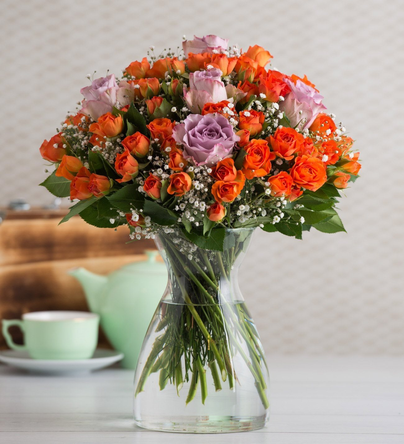 60 Orange Rambler Roses And 5 Lilac Roses Summery Twinkle
