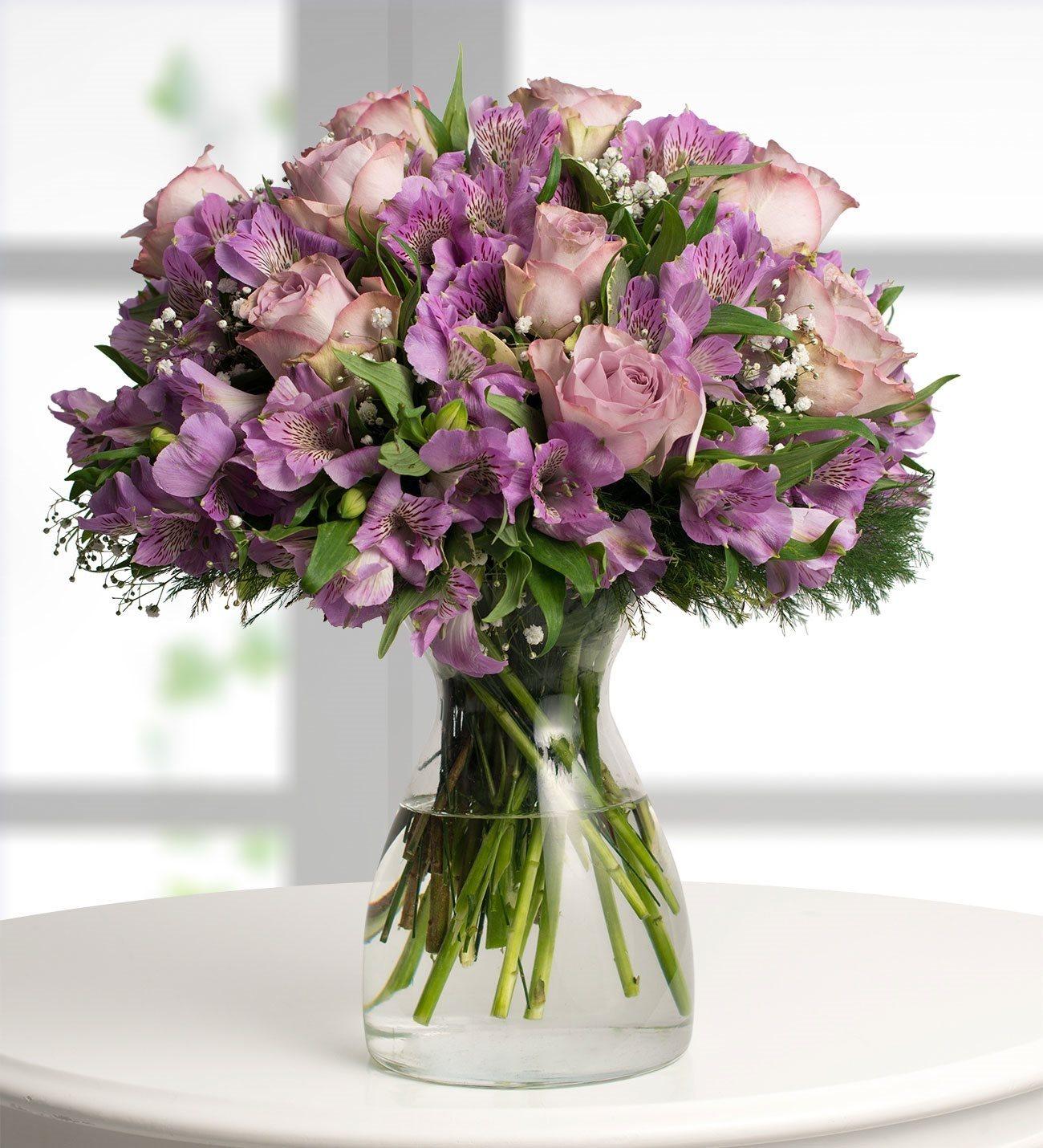 Alstroemeria and Roses - Purple Love