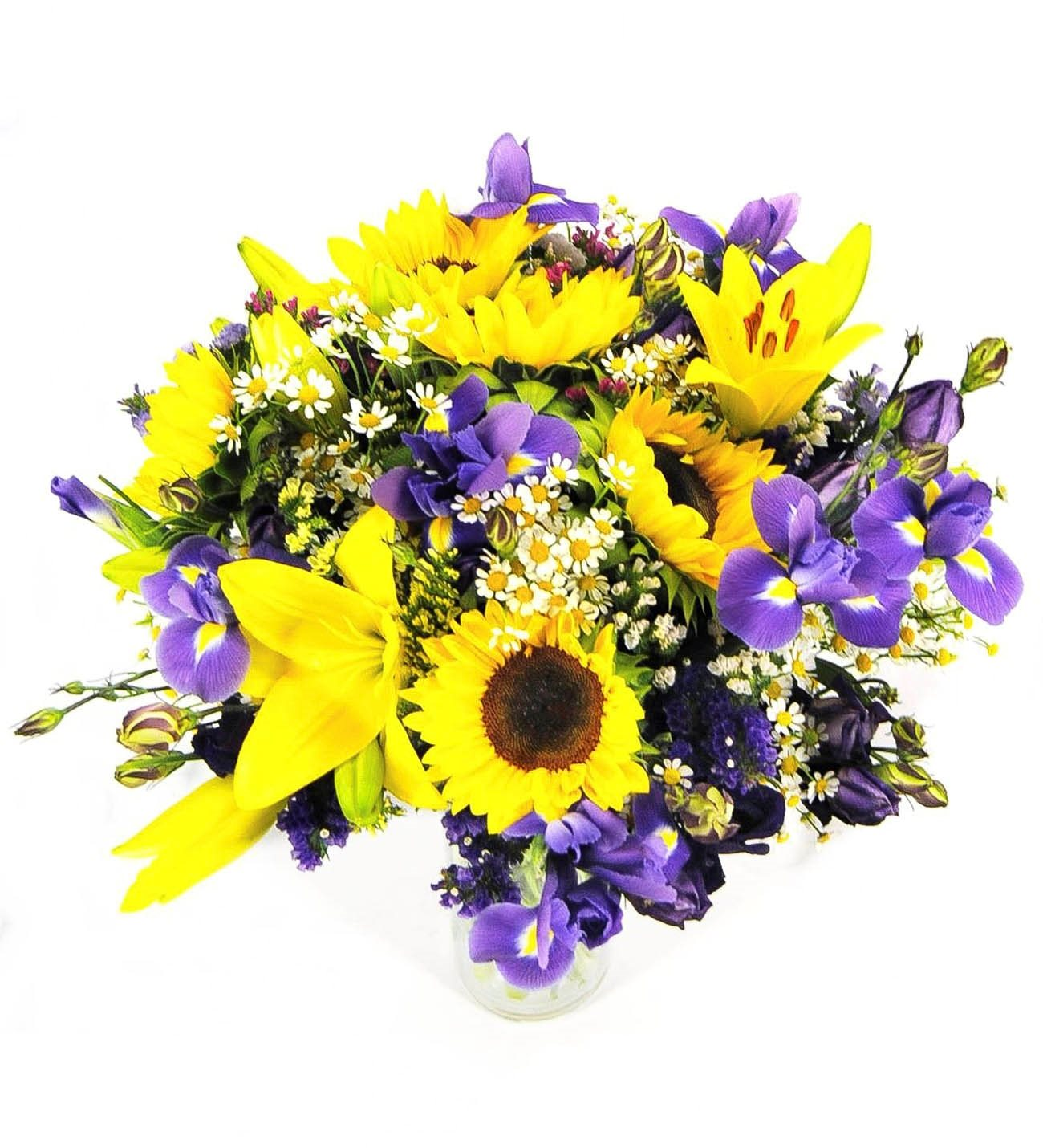 Fresh sunflower iris daisy lily bouquet lolaflora mallorca sunflowers lilies and iris izmirmasajfo