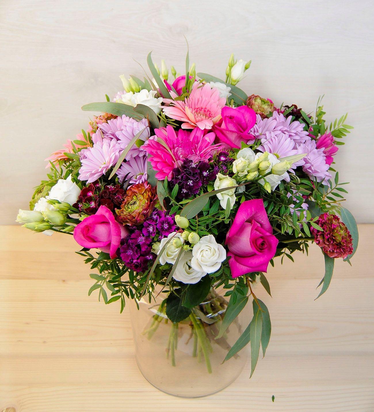 Fungi - Pink Carnation, Gerbera & Rose Bouquet - LolaFlora