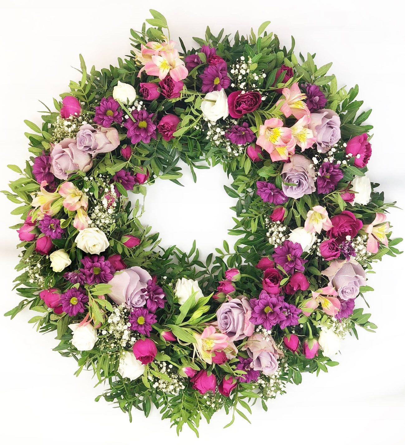 Funeral wreath of roses lisianthus astromelias and daisies izmirmasajfo