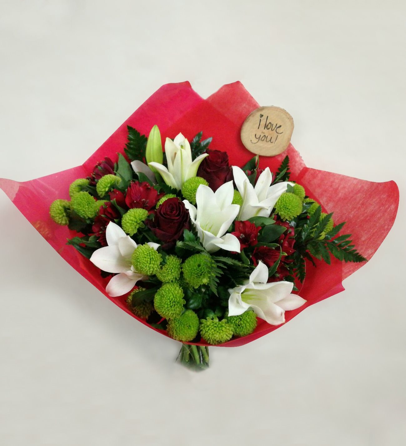 Dotorea Red Roses White Lilies And Green Cuts