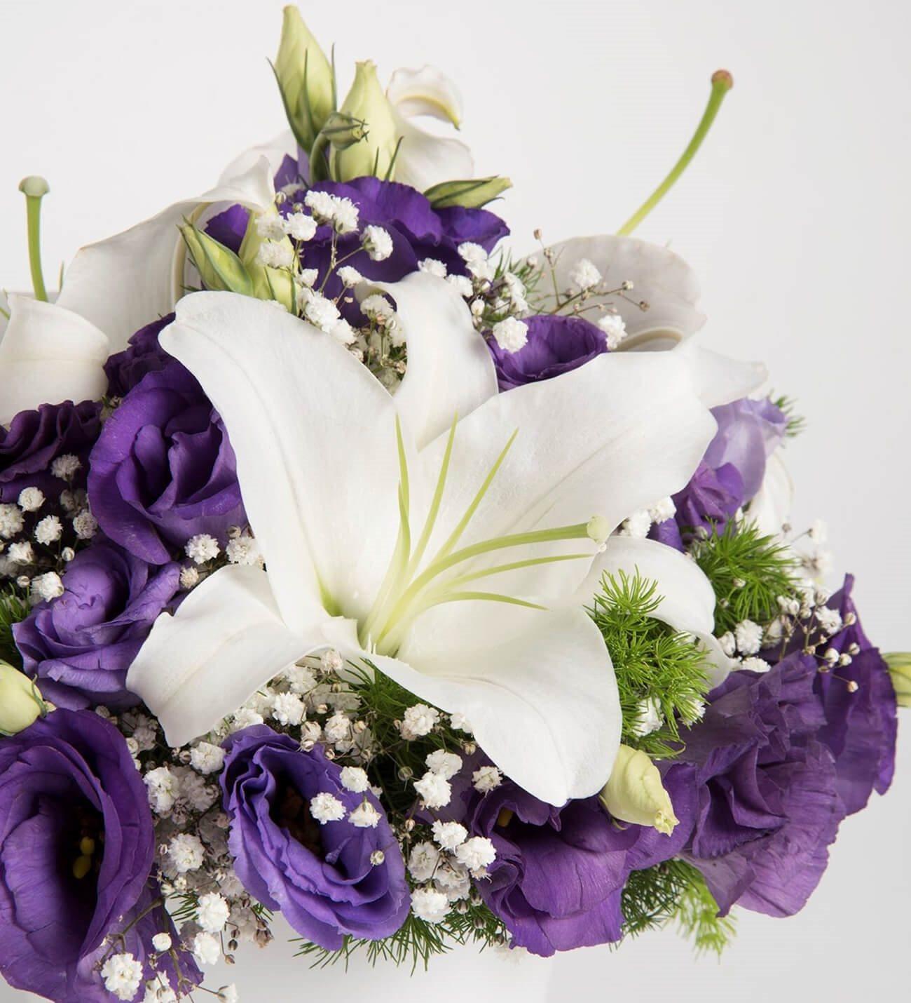 Personalized White Lilies And Purple Lisianthus Arrangement